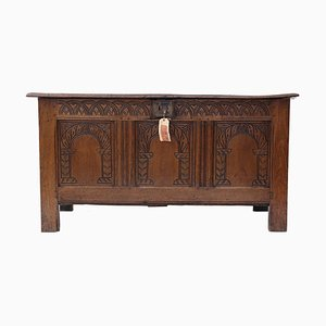 Antique Georgian Carved Oak Mule Chest