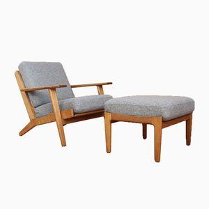 Dänischer GE290 Sessel mit Gestell aus Eiche & Fußhocker von Hans J. Wegner für Getama, 1953