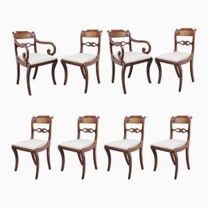 Chaises de Salle à Manger Regency en Acajou et Laiton, 1820s, Set de 8