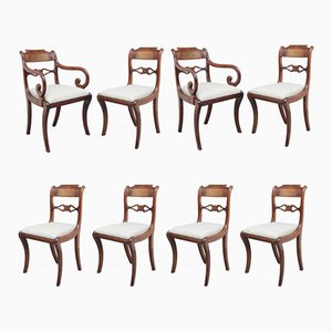 Regency Mahogany and Brass Inlaid Dining Chairs, 1820s, Set of 8