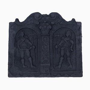 Große antike Kaminrückwand aus Gusseisen