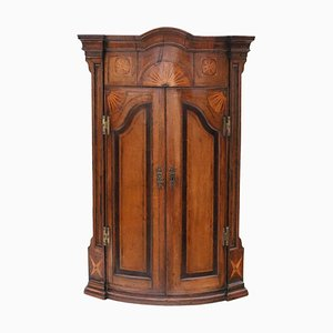Georgian Inlaid Crossbanded Oak Corner Cupboard, 1760s