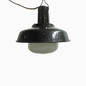 Industrial Enamel & Opaline Glass Pendant Lamp, 1963