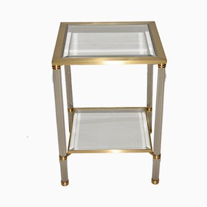 Hollywood Regency Italian Brass & Glass Side Table, 1960s
