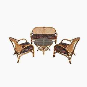 Vintage Rattan Set with Sofa & 2 Armchairs