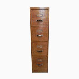 Vintage Industrial Oak 4-Drawer Filing Cabinet, 1950s
