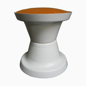 Tabouret Vintage avec Assise Orange, 1970s