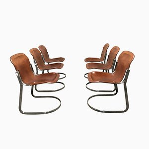 Vintage C2 Dining Chairs by Willy Rizzo for Cidue, 1970s, Set of 6
