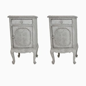 19th-Century Antique Rococo Style Bedside Tables, Set of 2