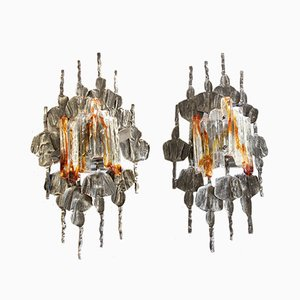 Vintage Brutalist Sconces by Tom Ahlström and Hans Ehrich, Set of 2