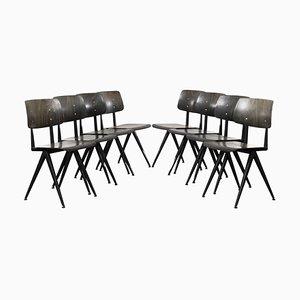 Dunkle Vintage S16 Stühle aus ebonisiertem Schichtholz von Galvanitas, 1960er, 8er Set
