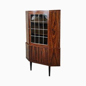Mueble esquinero danés de palisandro con vitrina de vidrio, años 60