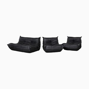 Black Leather Modular Togo Sofa Set by Michel Ducaroy for Ligne Roset, 1973
