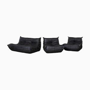 Black Leather Modular Togo Sofa Set by Michel Ducaroy for Ligne Roset, 1973