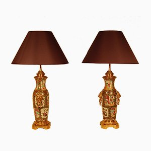 19th-Century Chinese Ceramic & Gilt Bronze Lamps, Set of 2