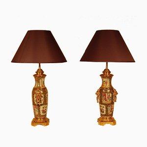 Lampes en Bronze Doré et Porcelaine de Chine, 19ème Siècle, Set de 2