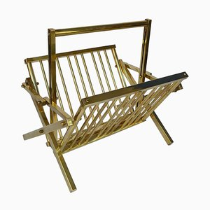 Italian Polished Brass Magazine Rack, 1970s