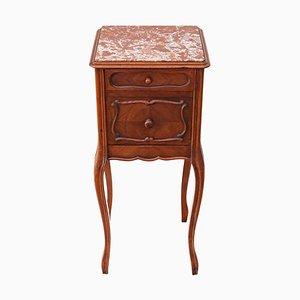 Französischer Vintage Nachttisch aus Nussholz & Marmor