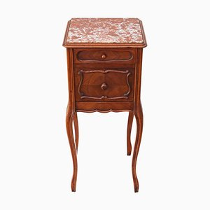 Vintage French Walnut & Marble Bedside Table