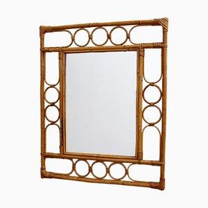 Rechteckiger französischer Vintage Spiegel mit Rahmen aus Rattan, 1960er