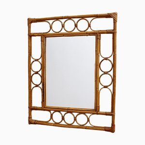 Vintage Rectangular French Rattan Mirror, 1960s