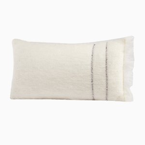 White Studded Mohair Cushion by Dinsh London
