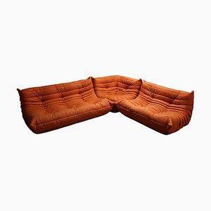 Juego de sofás modulares Togo naranjas de Michel Ducaroy para Ligne Roset, años 70