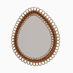 Italian Teardrop Rattan Wall Mirror, 1960s
