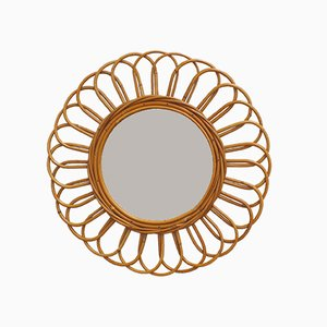 Vintage French Sunflower Rattan Wall Mirror, 1960s