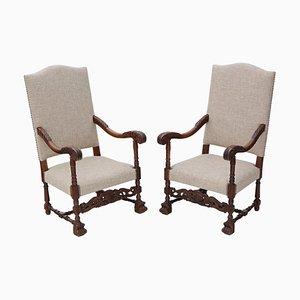 Antike Armlehnstühle aus Eiche, 2er Set