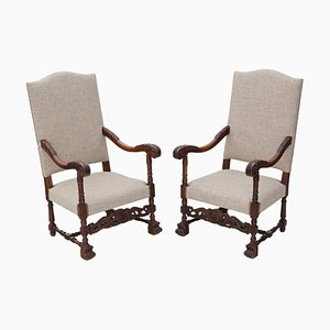 Antique Oak Armchairs, Set of 2