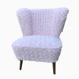 Mid-Century Pink Faux Fur Cocktail Chair