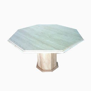 Octagonal Travertine Dining Table, 1970s