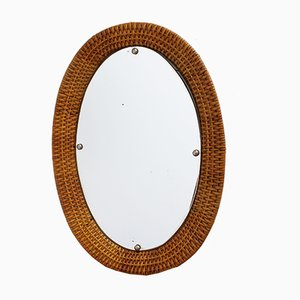 Oval Italian Wicker Rattan Wall Mirror, 1960s