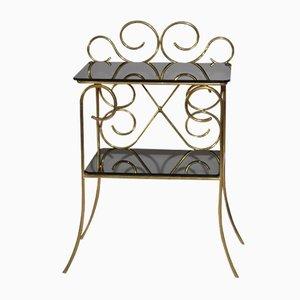 Tavolino ornamentale vintage in ottone e vetro nero, anni '60