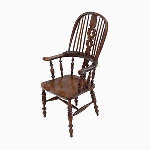 Chaise Windsor Victorienne Antique en Bois d'If et d'Orme, 1840s