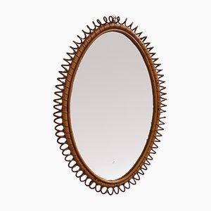 OvalItalian Rattan Wall Mirror, 1960s