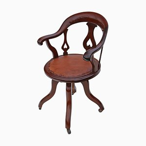 Antique Victorian Mahogany and Leather Swivel Office Chair, 1900s