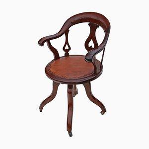 Chaise de Bureau Pivotante Victorienne Antique en Acajou et Cuir, 1900s