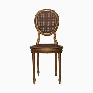 Vintage French Golden Rattan Chair, 1960s