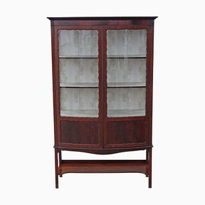 Large Antique Edwardian Mahogany Bow Front Display Cabinet