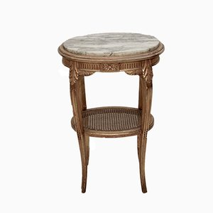 Hollywood Regency Style French Golden Rattan & Marble Side Table, 1960s