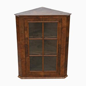 Antique Georgian Glazed Walnut Corner Cupboard