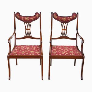 Antique Inlaid Mahogany Elbow Chairs, 1900s, Set of 2