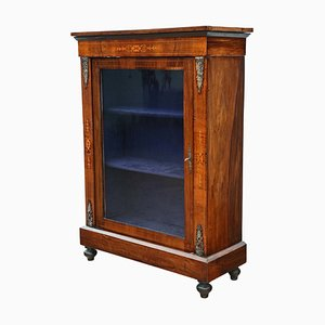 Antique Inlaid Burr Walnut Display Cabinet, 1880s