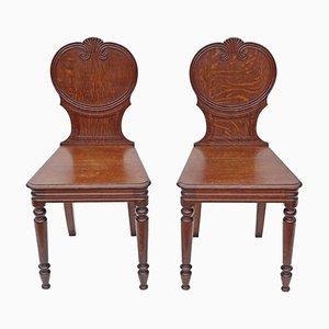 Antike Beistellstühle aus Eichenholz, 2er Set