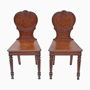 Antique Oak Side Chairs, Set of 2