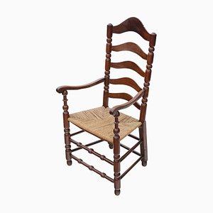 Antique Georgian Fruitwood High Back Elbow Desk Chair