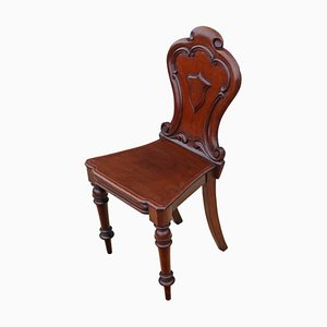 Antique Victorian Carved Mahogany Hall Chair, 1870s