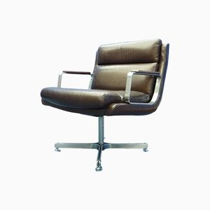 Mid-Century France Leather Stainless Steel Desk Chair, 1960s